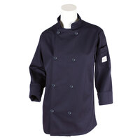 Mercer M60020NBXXS Millennia Women's 31 inch XXS Navy Double Breasted Long Sleeve Cook Jacket with Traditional Buttons