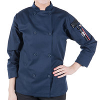 Mercer Culinary M60020NBXXS Millennia Women's 31 inch XXS Customizable Navy Double Breasted Long Sleeve Cook Jacket with Traditional Buttons