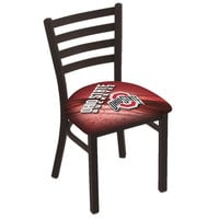 Holland Bar Stool L00418OhioSt-D2 Black Steel Ohio State University Chair with Ladder Back and Padded Seat