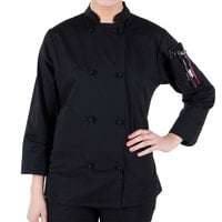 Mercer Culinary M60020BKS Millennia Women's 34 inch S Customizable Black Double Breasted Long Sleeve Cook Jacket with Traditional Buttons
