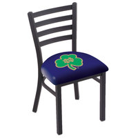 Holland Bar Stool L00418ND-Shm Black Steel University of Notre Dame Chair with Ladder Back and Padded Seat