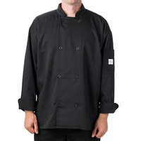 Mercer Culinary Millennia Air Unisex 48 inch 1X Customizable Black Double Breasted Long Sleeve Cook Jacket with Traditional Buttons with Full Mesh Back