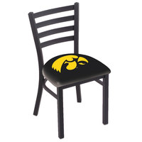 Holland Bar Stool L00418IowaUn Black Steel University of Iowa Chair with Ladder Back and Padded Seat