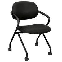 HON VL303MM10T Basyx Black Mesh Nesting Arm Chair with Polypropylene Frame