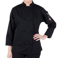 Mercer Culinary M60020BKXS Millennia Women's 32 inch XS Customizable Black Double Breasted Long Sleeve Cook Jacket with Traditional Buttons