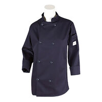 Mercer M60020NBXS Women's 32 inch XS Navy Double Breasted Long Sleeve Cook Jacked with Traditional Buttons