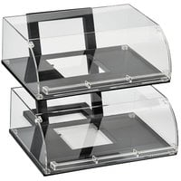 Vollrath ANBCF-06 Cubic Two Tier Full Size Angled Acrylic Pastry Display Case with Front Doors, Reusable Chalkboard Labels, and Chalk