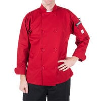 Mercer Culinary M60010RD1X Millennia Unisex 48 inch 1X Customizable Red Double Breasted Long Sleeve Cook Jacket with Traditional Buttons