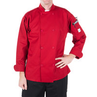 Mercer Culinary M60010RDM Millennia Unisex 40 inch M Customizable Red Double Breasted Long Sleeve Cook Jacket with Traditional Buttons