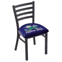 Holland Bar Stool L00418ND-Lep Black Steel University of Notre Dame Chair with Ladder Back and Padded Seat