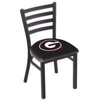 Holland Bar Stool L00418GA-G Black Steel University of Georgia Chair with Ladder Back and Padded Seat