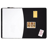 Quartet 06545BK 35 inch x 23 1/2 inch Two Panel Board with White Write-On Dry Erase Board, Black Foam Board, and Black Frame
