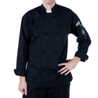 Mercer Culinary M60012BK1X Millennia Unisex 48 inch 1X Customizable Black Double Breasted Long Sleeve Cook Jacket with Cloth Knot Buttons