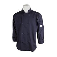 Mercer M60010NB1X Millennia Unisex 48 inch 1X Navy Double Breasted Long Sleeve Cook Jacket with Traditional Buttons