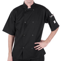 Mercer Culinary M60013BKM Millennia Unisex 40 inch M Customizable Black Double Breasted Short Sleeve Cook Jacket with Traditional Buttons