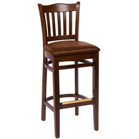 BFM Seating LWB7218WALBV Princeton Walnut Beechwood School House Bar Height Chair with 2 inch Brown Vinyl Seat