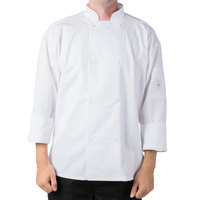Mercer Air Unisex 32 inch XS White Double Breasted Long Sleeve Cook Jacket with Traditional Buttons with Full Mesh Back