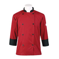 Mercer Air Unisex 32 inch XS Red Double Breasted 3/4 Length Sleeve Cook Jacket with Traditional Buttons with Full Mesh Back