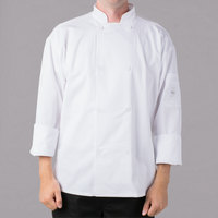 Mercer Culinary Millennia Air Unisex 44 inch L Customizable White Double Breasted Long Sleeve Cook Jacket with Traditional Buttons with Full Mesh Back