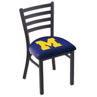 Holland Bar Stool L00418MichUn Black Steel University of Michigan Chair with Ladder Back and Padded Seat