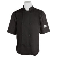 Mercer M60013BKXS Millennia Unisex 32 inch XS Black Double Breasted Short Sleeve Cook Jacket with Traditional Buttons