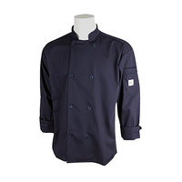 Mercer M60010NBXS Millennia Unisex 32 inch XS Navy Double Breasted Long Sleeve Cook Jacket with Traditional Buttons