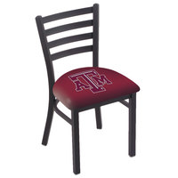 Holland Bar Stool L00418TexA-M Black Steel Texas A&M Chair with Ladder Back and Padded Seat
