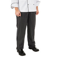 Mercer Culinary Millenia Unisex Black Chalk Stripe Cook Pants - 1XL