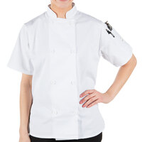 Mercer Culinary M60023WHL Millennia Women's 38 inch L Customizable White Double Breasted Short Sleeve Cook Jacket with Traditional Buttons
