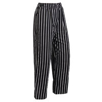 Mercer M60030BCS4X Millennia Unisex 52 inch 4X Black Chalk Stripe Poly-Cotton Cook Pants