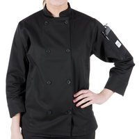 Mercer Culinary M60022BKXXS Millennia Women's 31 inch XXS Customizable Black Double Breasted Long Sleeve Cook Jacket with Cloth Knot Buttons