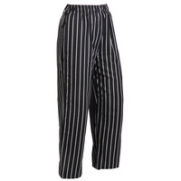 Mercer M60030BCS2X Millennia Unisex 44 inch 2X Black Chalk Stripe Poly-Cotton Cook Pants