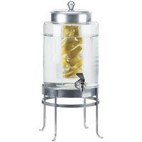 Cal-Mil 1580-2INF-74 2 Gallon Silver Soho Glass Beverage Dispenser with Infusion Chamber
