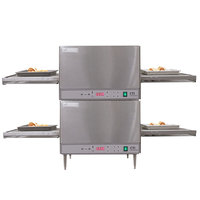 Lincoln 2500-2 2500-2 50 inch Digital Single Belt Electric Countertop Double Conveyor Oven Package - 208V, 3 Phase, 6 kW