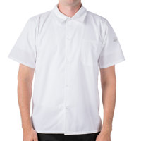 Mercer M60200WH7X Millennia Unisex 72 inch 7X White Short Sleeve Cook Shirt with Traditional Buttons and Full Mesh Back
