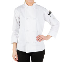 Mercer Culinary M60022WHXS Millennia Women's 32 inch XS Customizable White Double Breasted Long Sleeve Cook Jacket with Cloth Knot Buttons