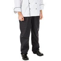 Mercer Culinary M60030BFP4X Millennia Unisex 52 inch 4X Black Fine Pinstripe Poly-Cotton Cook Pants