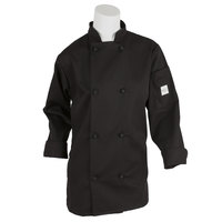 Mercer M60022BK2X Millennia Women's 45 inch 2X Black Double Breasted Long Sleeve Cook Jacket with Cloth Knot Buttons