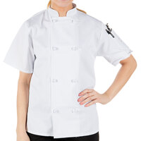 Mercer Culinary M60024WHL Millennia Women's 38 inch L Customizable White Double Breasted Short Sleeve Cook Jacket with Cloth Knot Buttons