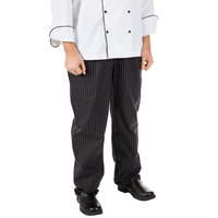 Mercer Culinary M60030BFPL Millennia Unisex 36 inch L Black Fine Pinstripe Poly-Cotton Cook Pants