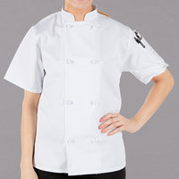 Mercer Culinary M60024WHXS Millennia Women's 32 inch XS Customizable White Double Breasted Short Sleeve Cook Jacket with Cloth Knot Buttons