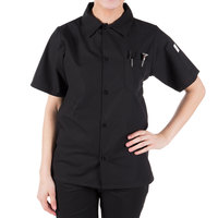 Mercer Culinary M60200BKS Millennia Air Unisex 36 inch S Customizable Black Short Sleeve Cook Shirt with Traditional Buttons and Full Mesh Back