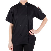 Mercer Culinary M60023BKXS Millennia Women's 32 inch XS Customizable Black Double Breasted Short Sleeve Cook Jacket with Traditional Buttons