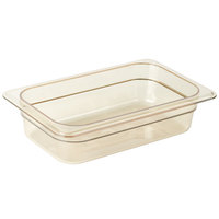 Cambro 42HP150 H-Pan™ 1/4 Size Amber High Heat Plastic Food Pan - 2 1/2 inch Deep