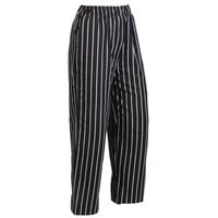 Mercer M60030BCSXS Millennia Unisex 24 inch XS Black Chalk Stripe Poly-Cotton Cook Pants