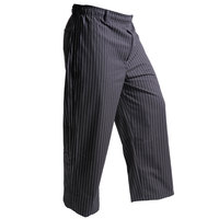 Mercer Culinary M60030BFPXS Millennia Unisex 24 inch XS Black Fine Pinstripe Poly-Cotton Cook Pants