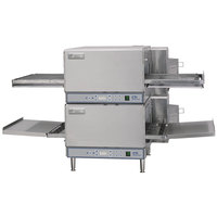 Lincoln V2500-2 50 inch Ventless Digital Single Belt Electric Countertop Double Conveyor Oven Package - 208V, 12 kW