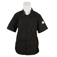 Mercer M60200BKXS Millennia Unisex 32 inch XS Black Short Sleeve Cook Shirt with Traditional Buttons and Full Mesh Back