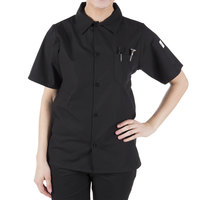 Mercer Culinary M60200BKXS Millennia Air Unisex 32 inch XS Customizable Black Short Sleeve Cook Shirt with Traditional Buttons and Full Mesh Back