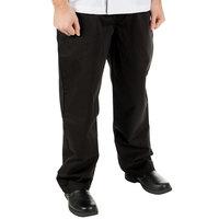 Mercer Culinary M61060BK3X Genesis Unisex 48 inch 3X Black 100% Cotton Chef Pants